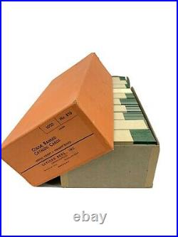 1000 New Sealed Vintage White/Green Library Catalog Index Cards Pre-Drilled 3x5