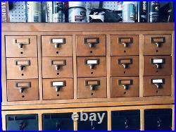 15 Drawer Card Catalog Wood File Cabinet Library Index Vintage