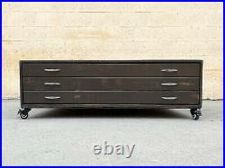 1970s Vintage Painted Wood Flat File on Casters