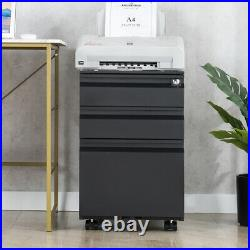 3 Drawer Metal File Cabinet with Mobile Locking Filing Cabinet Letter/Legal A4F4