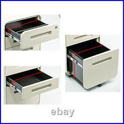 3 Drawer Mobile File Cabinet, Locking Filing Cabinet Rolling Pedestal Under Desk