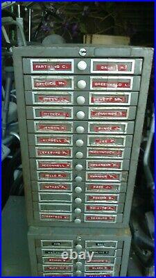 4 Vintage Metal File Cabinet Office Art Metal Postindex and Datavue Flat drawer