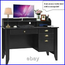 47 Vintage Computer PC Desk with 4 Drawers Hutch Shelf Home Office Workstation