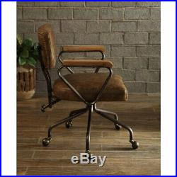 ACME Hallie Leather Swivel Office Chair in Vintage Whiskey