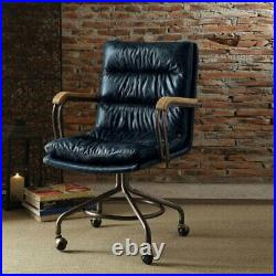 ACME Hedia Leather Swivel Office Chair in Vintage Blue