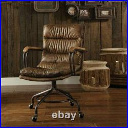 ACME Hedia Leather Swivel Office Chair in Vintage Whiskey