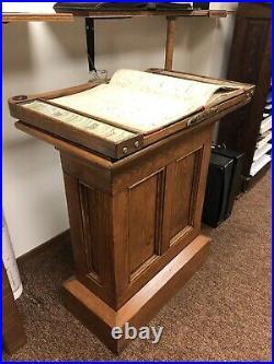Antique Glenrock Wyoming Hotel Registry Swivel Podium with Ledgers & Sterling Pen