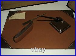 Antique/vintage Staco Gingham desk set with Eversharp 10k gold fountain pen UNUSED