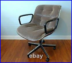 Authentic Knoll Charles Pollock Chair Gray Velvet Office Vintage 6 AVAILABLE