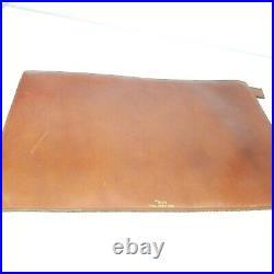 Bosca Leather Zip Case Portfolio Full Grain Hide Distressed Brown Gold Vintage