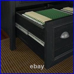 Bush Furniture Stanford 2 Drawer Lateral File Cabinet in Antique Black