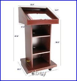 Church Podium Wheel Pulpit Convertible Pulpit Floor Lectern Reception Desk Table