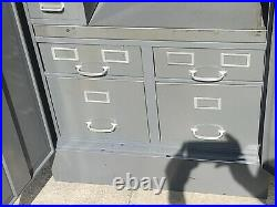 Cole Steel Industrial Desk N File Office Cabinet with Safe, Rare