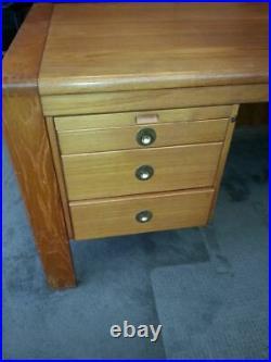 D-Scan Vintage Mid Century Modern Teak Desk and Credenza Set with 2 Matching Ben