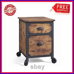File Cabinet 2 Drawer Rustic Country Folder Letter Rolling Wheels Office Storage