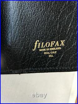 Filofax-3cl Slimline-personal-dk Blue Calf Leather-rare Vintage Collectors Item