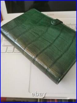 Filofax Dundee personal size organiser calf leather croc Green vintage agenda