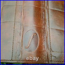 Filofax Vintage Harrods Brown Croc Print Leather Deskfax Organiser