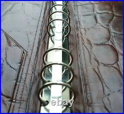 Filofax Vintage Harrods Brown Croc Print Leather Deskfax Ultra Rare