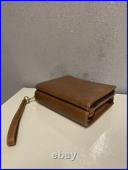 Franklin Covey Classic 6 Ring Binder Planner Brown Leather 7X8 Zip USA VTG 1998