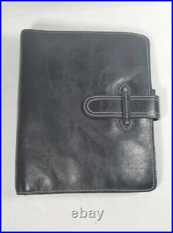 Franklin Covey Vintage Aurora Black Charlotte Leather Planner Binder With Inserts