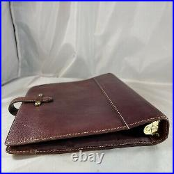 Franklin Covey Vintage Aurora Burgundy Classic Leather Planner Binder RING FLAWS