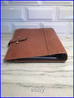 Franklin Covey Vintage Aurora Compact Planner Organizer Binder Brown leather