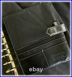 Franklin Covey Vintage Collages Aurora BLACK Leather Unstructured Binder