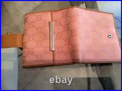 GUCCI GG Pink/Beige Leather/canvas Clutch/Wallet Very Rare Vintage