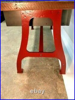 Industrial Desk, Reclaimed Barn Wood, Vintage, Salvaged Cast Iron Legs