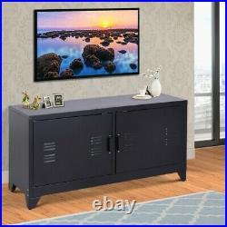 Industrial TV Stand Vintage Retro Furniture Metal Side Cabinet 2 Cupboard Unit