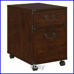 Kathy ireland Office Ironworks 2 Drawer Mobile File Cabinet in Cherry