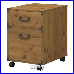 Kathy ireland Office Ironworks 2 Drawer Mobile File Cabinet in Pine