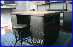Kitchen Island/Work Station. Vintage Industrial/Mid Century Modern Design