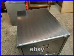 Lovely Vintage Industrial 2 Draw Filing Cabinet Stripped and Polished Nice Piece