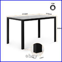 Modern Black Glass Dining Table Set Kitchen FU Leather Chairs Table 5Pieces Kit