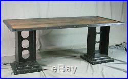 Modern Industrial Desk. Girder Legs. Reclaimed Wood and Steel. Vintage