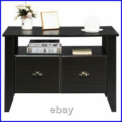 Multi-function Lateral File Cabinet Coffee Table TV Stand Retro Furni With2 Drawer