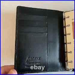 NEW Filofax Ascot Black Leather Organizer Made In USA 1990s Vintage