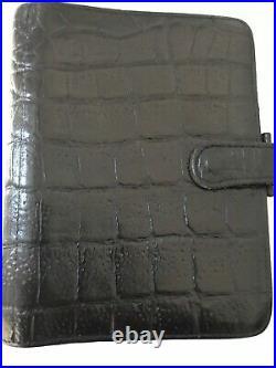 Organiser/filofax-rare Mulberry Agenda-black Croc Print Vintage Nile Leather