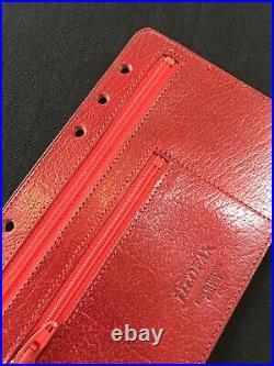 Organiser-super Rare Vintage Filofax 2pclz Red Calf Leather Insert-personal Size