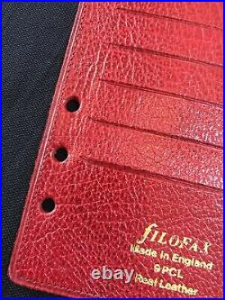 Organiser-super Rare Vintage Filofax 9pcl Red Calf Leather Insert-personal