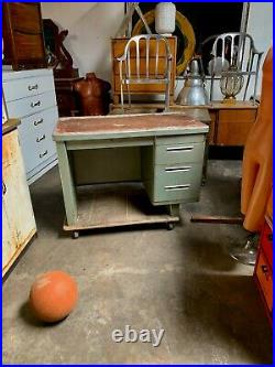 Original Industrial Modern Art Deco Cole-Steel Industrial 3-Drawer 1-File Desk