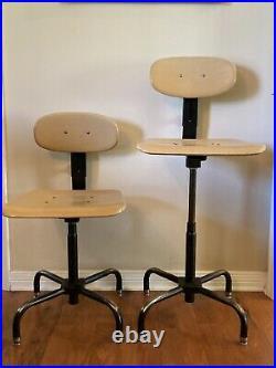 Pair Vintage Adjustable Industrial Drafting Chair Stool Garrett Tubular Products