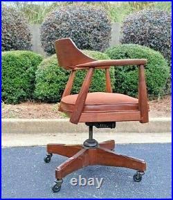 Retro Industrial rolling Office Armchair by Jasper Chair Co Vintage Danish MCM