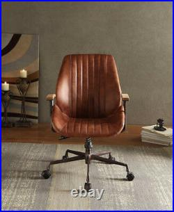 Retro Vintage Executive Office Swivel Chair Ribbed Top Grain Leather, Adjustable