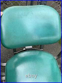 STEELCASE Vintage Armed Office Chair Classic Green Teal Rolling Retro Industrial