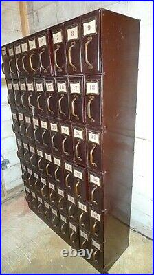 Storage Filing Cabinet of Steel from Courthouse, Library or Factory with54 Drawers