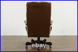 Tufted Leather Swivel Adjustable Vintage Desk Chair #35884