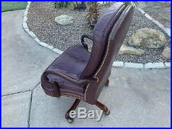 VINTAGE Hancock & Moore Leather Tufted Executive Bankers Desk Chair Barristers